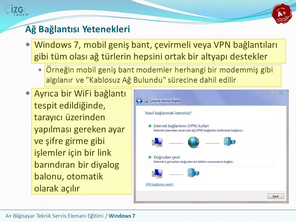 A+ Bilgisayar Teknik Servis Elemanı Eğitimi / Windows 7 Ağ Bağlantısı Yetenekleri Windows 7, mobil geniş bant, çevirmeli veya VPN bağlantıları gibi tü