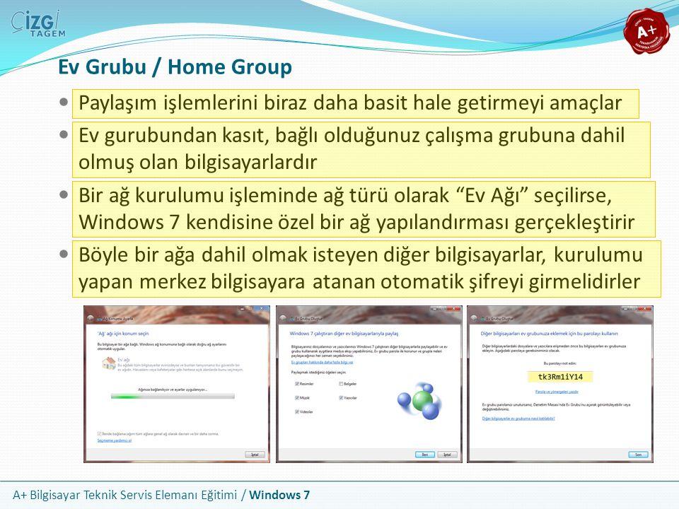 A+ Bilgisayar Teknik Servis Elemanı Eğitimi / Windows 7 Ev Grubu / Home Group Paylaşım işlemlerini biraz daha basit hale getirmeyi amaçlar Ev gurubund