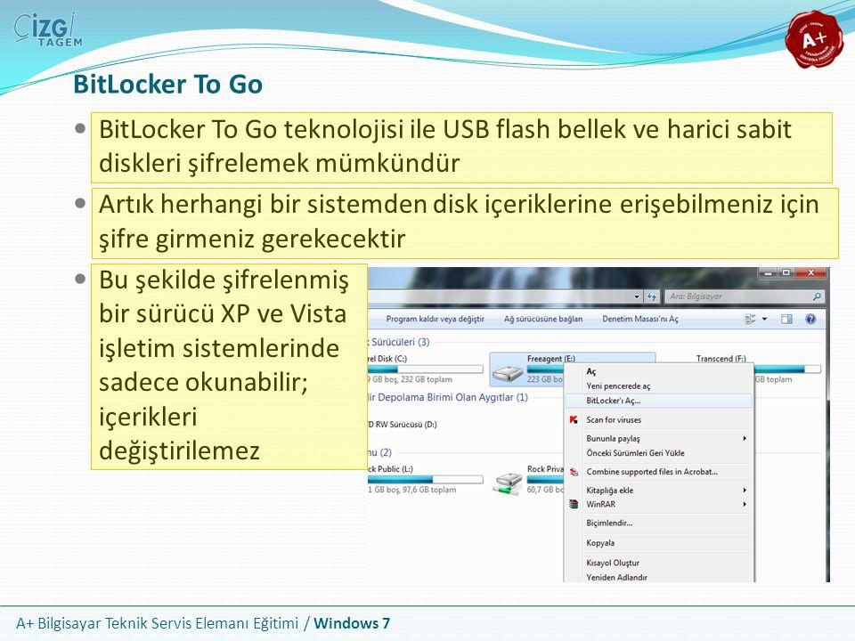 A+ Bilgisayar Teknik Servis Elemanı Eğitimi / Windows 7 BitLocker To Go BitLocker To Go teknolojisi ile USB flash bellek ve harici sabit diskleri şifr