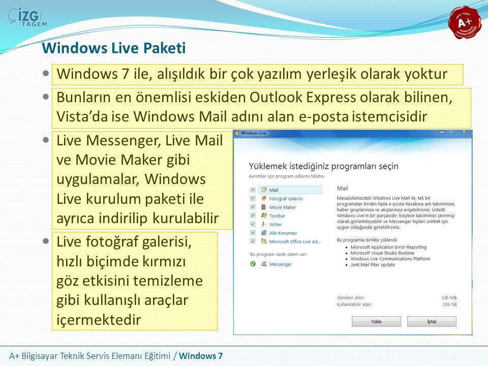 A+ Bilgisayar Teknik Servis Elemanı Eğitimi / Windows 7 Windows Live Paketi Windows 7 ile, alışıldık bir çok yazılım yerleşik olarak yoktur Bunların e