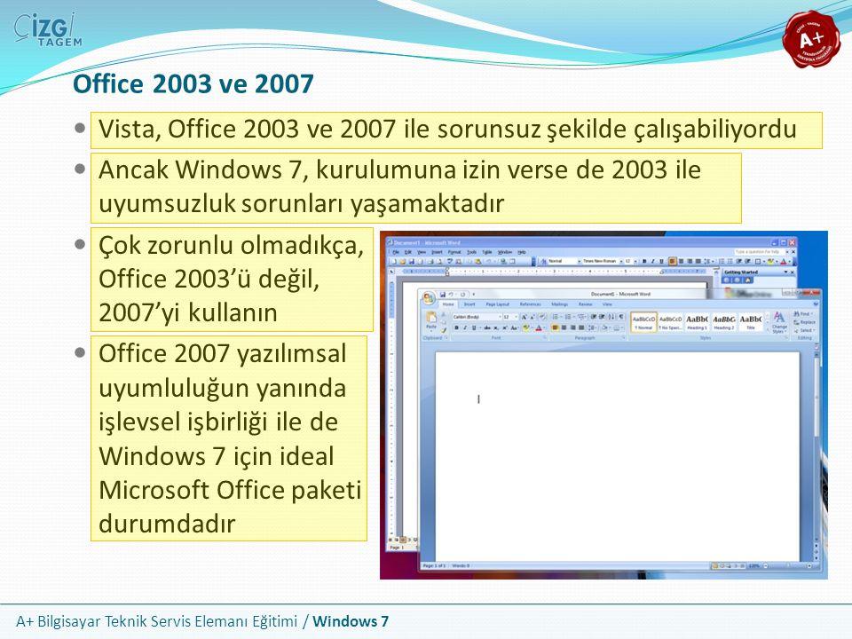 A+ Bilgisayar Teknik Servis Elemanı Eğitimi / Windows 7 Office 2003 ve 2007 Vista, Office 2003 ve 2007 ile sorunsuz şekilde çalışabiliyordu Ancak Wind