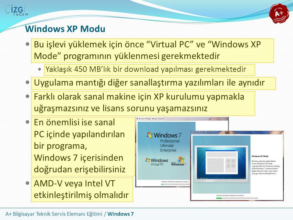 """A+ Bilgisayar Teknik Servis Elemanı Eğitimi / Windows 7 Windows XP Modu Bu işlevi yüklemek için önce """"Virtual PC"""" ve """"Windows XP Mode"""" programının yük"""