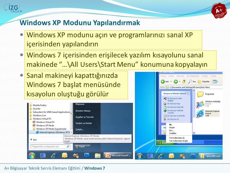 A+ Bilgisayar Teknik Servis Elemanı Eğitimi / Windows 7 Windows XP Modunu Yapılandırmak Windows XP modunu açın ve programlarınızı sanal XP içerisinden