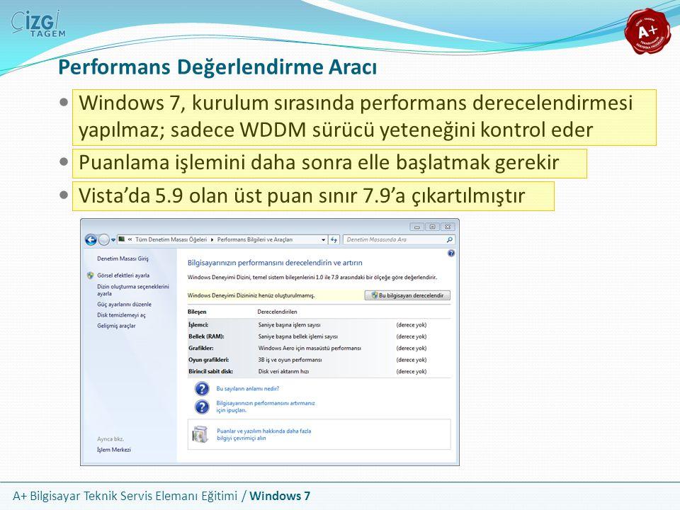 A+ Bilgisayar Teknik Servis Elemanı Eğitimi / Windows 7 Performans Değerlendirme Aracı Windows 7, kurulum sırasında performans derecelendirmesi yapılm