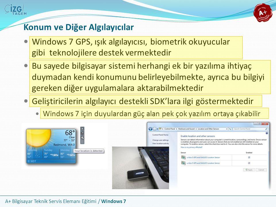 A+ Bilgisayar Teknik Servis Elemanı Eğitimi / Windows 7 Konum ve Diğer Algılayıcılar Windows 7 GPS, ışık algılayıcısı, biometrik okuyucular gibi tekno