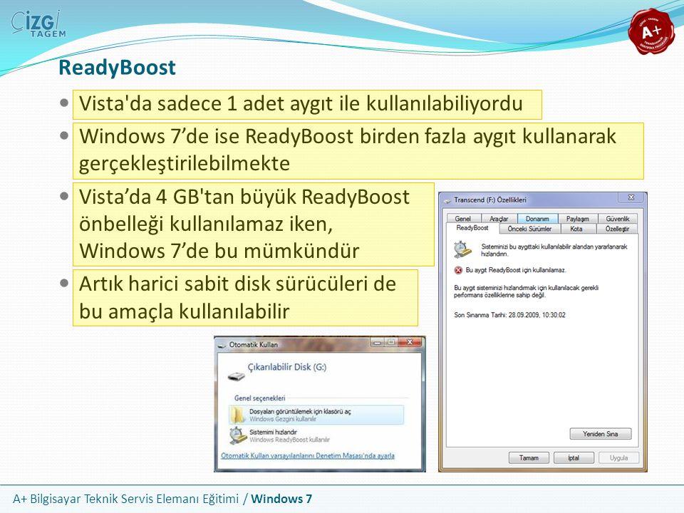 A+ Bilgisayar Teknik Servis Elemanı Eğitimi / Windows 7 ReadyBoost Vista'da sadece 1 adet aygıt ile kullanılabiliyordu Windows 7'de ise ReadyBoost bir