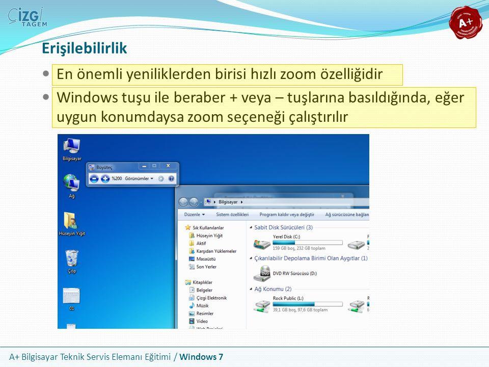 A+ Bilgisayar Teknik Servis Elemanı Eğitimi / Windows 7 Erişilebilirlik En önemli yeniliklerden birisi hızlı zoom özelliğidir Windows tuşu ile beraber