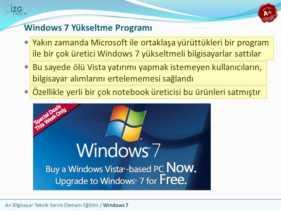 A+ Bilgisayar Teknik Servis Elemanı Eğitimi / Windows 7 Windows 7 Yükseltme Programı Yakın zamanda Microsoft ile ortaklaşa yürüttükleri bir program il