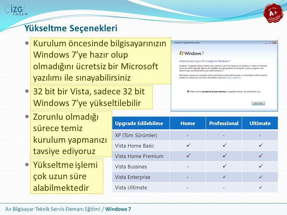 A+ Bilgisayar Teknik Servis Elemanı Eğitimi / Windows 7 Yükseltme Seçenekleri Kurulum öncesinde bilgisayarınızın Windows 7'ye hazır olup olmadığını üc