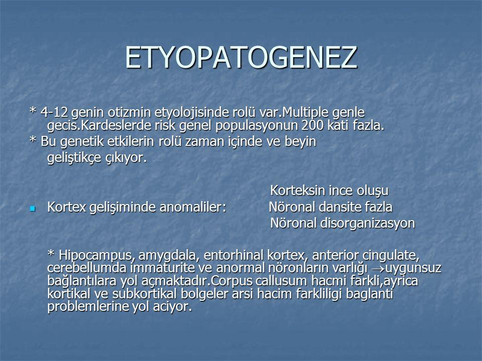 ETYOPATOGENEZ * 4-12 genin otizmin etyolojisinde rolü var.Multiple genle gecis.Kardeslerde risk genel populasyonun 200 kati fazla. * Bu genetik etkile