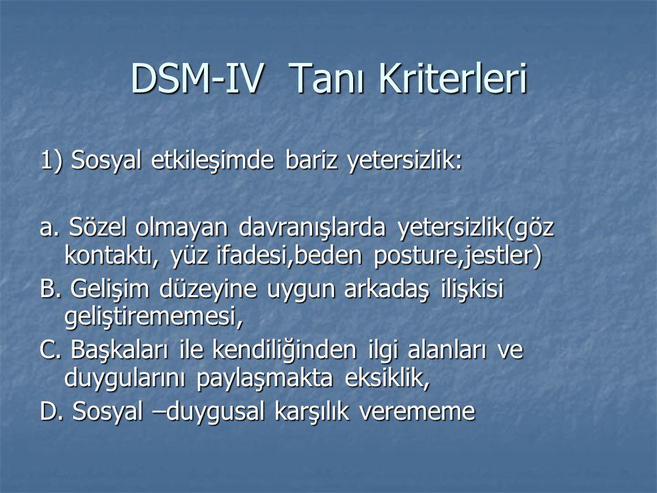 DSM-IV Tanı Kriterleri 1) Sosyal etkileşimde bariz yetersizlik: a. Sözel olmayan davranışlarda yetersizlik(göz kontaktı, yüz ifadesi,beden posture,jes