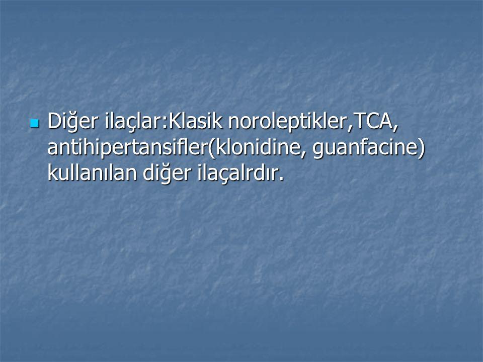 Diğer ilaçlar:Klasik noroleptikler,TCA, antihipertansifler(klonidine, guanfacine) kullanılan diğer ilaçalrdır. Diğer ilaçlar:Klasik noroleptikler,TCA,