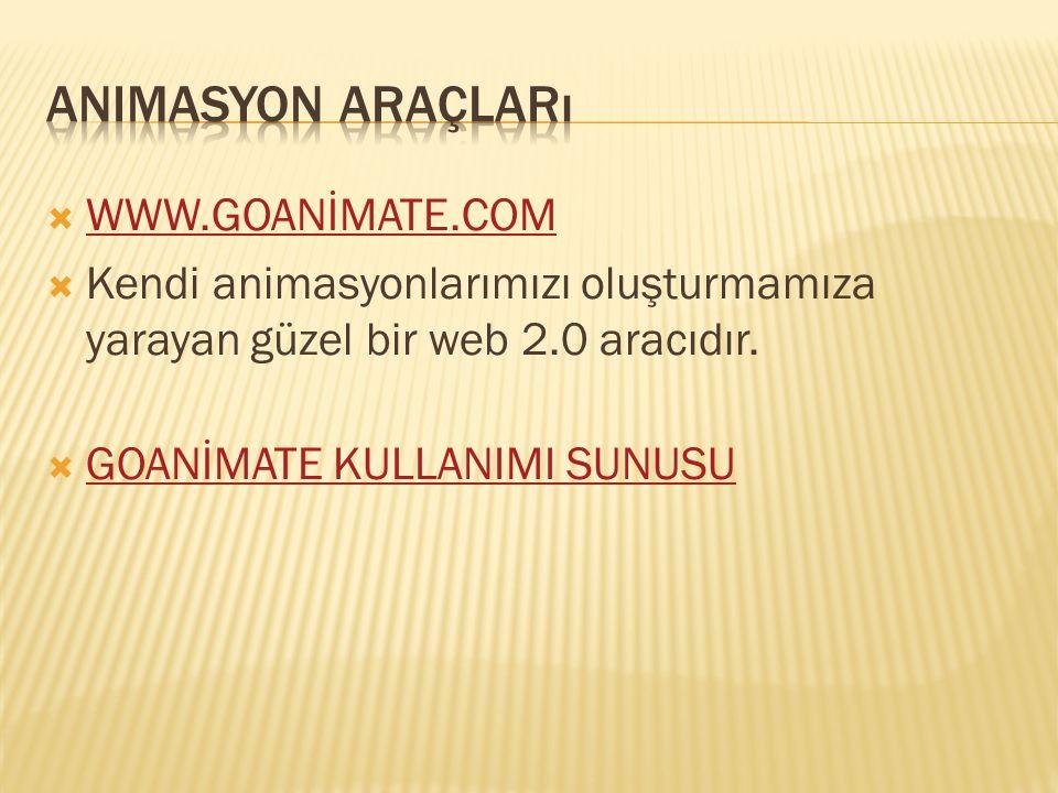  WWW.GOANİMATE.COM WWW.GOANİMATE.COM  Kendi animasyonlarımızı oluşturmamıza yarayan güzel bir web 2.0 aracıdır.  GOANİMATE KULLANIMI SUNUSU GOANİMA