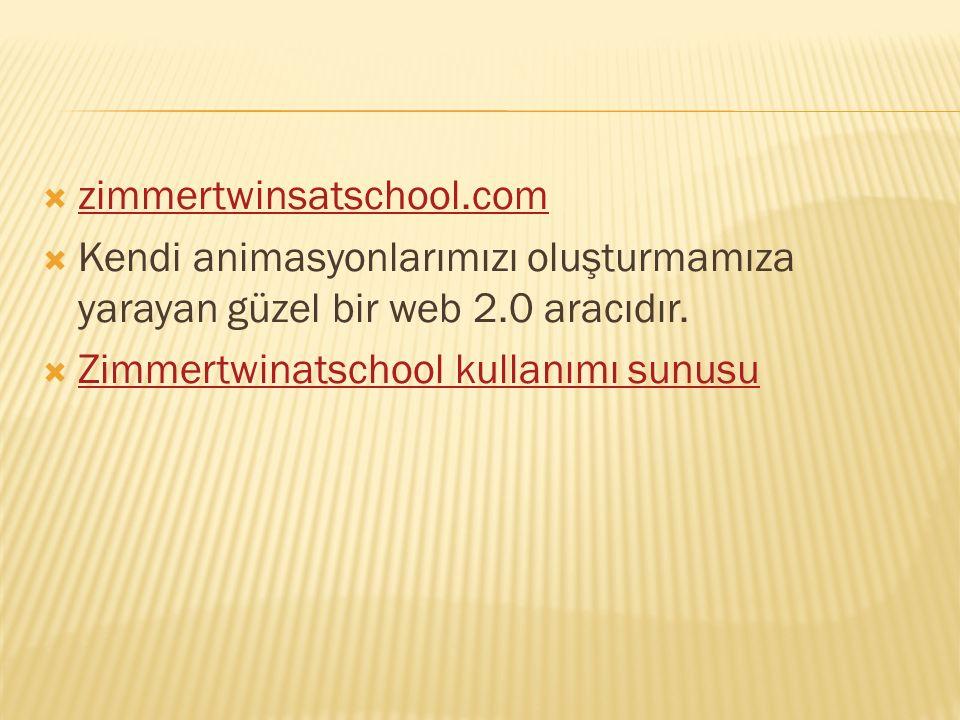  zimmertwinsatschool.com zimmertwinsatschool.com  Kendi animasyonlarımızı oluşturmamıza yarayan güzel bir web 2.0 aracıdır.  Zimmertwinatschool kul