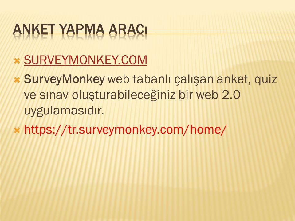  SURVEYMONKEY.COM SURVEYMONKEY.COM  SurveyMonkey web tabanlı çalışan anket, quiz ve sınav oluşturabileceğiniz bir web 2.0 uygulamasıdır.  https://t