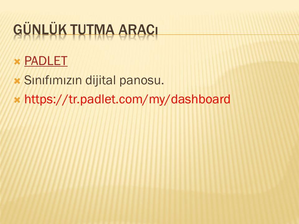  PADLET PADLET  Sınıfımızın dijital panosu.  https://tr.padlet.com/my/dashboard