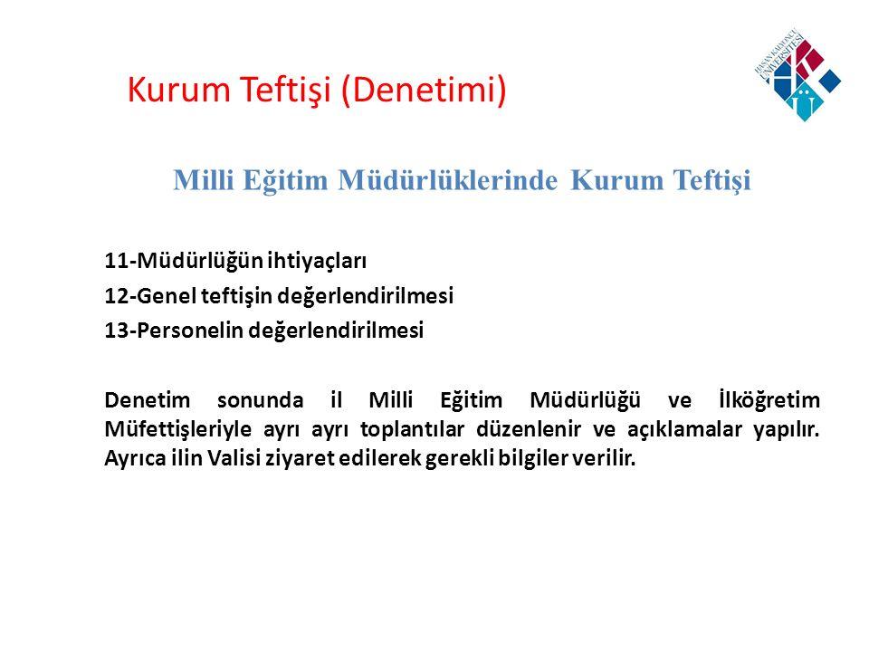 Kurum Teftişi (Denetimi) Milli Eğitim Müdürlüklerinde Kurum Teftişi 11-Müdürlüğün ihtiyaçları 12-Genel teftişin değerlendirilmesi 13-Personelin değerl