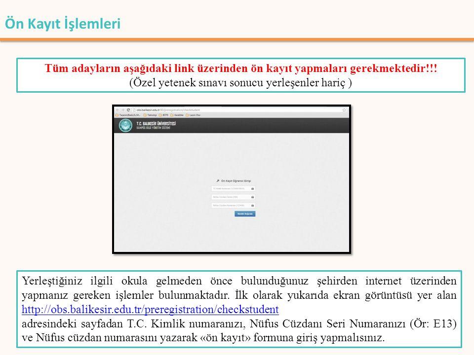 Ön Kayıt İşlemleri Sisteme girdiğinizde karşınıza size ait bilgilerin ve fotoğrafın yer aldığı bir ekran çıkacaktır.