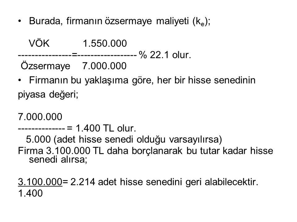 Burada, firmanın özsermaye maliyeti (k e ); VÖK 1.550.000 ----------------=------------------ % 22.1 olur.