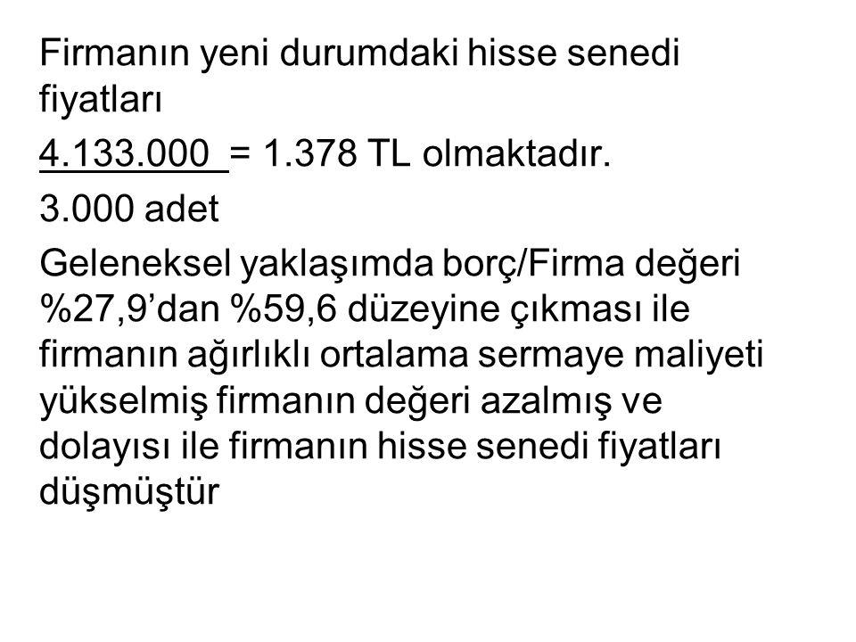 Firmanın yeni durumdaki hisse senedi fiyatları 4.133.000 = 1.378 TL olmaktadır.