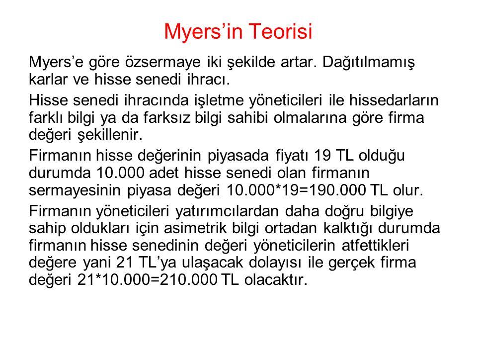 Myers'in Teorisi Myers'e göre özsermaye iki şekilde artar. Dağıtılmamış karlar ve hisse senedi ihracı. Hisse senedi ihracında işletme yöneticileri ile