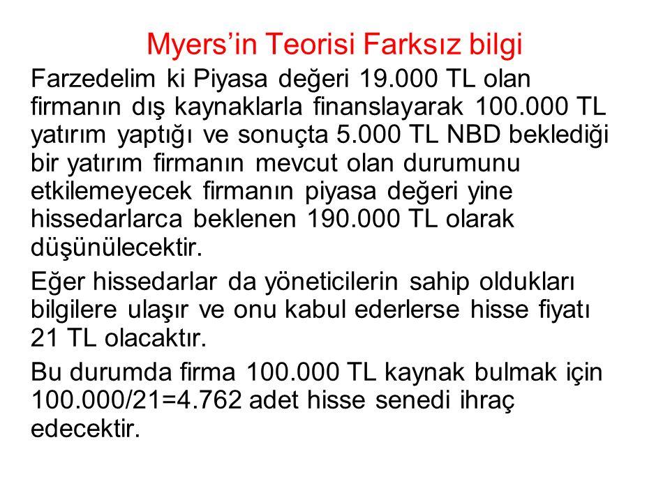 Myers'in Teorisi Farksız bilgi Farzedelim ki Piyasa değeri 19.000 TL olan firmanın dış kaynaklarla finanslayarak 100.000 TL yatırım yaptığı ve sonuçta