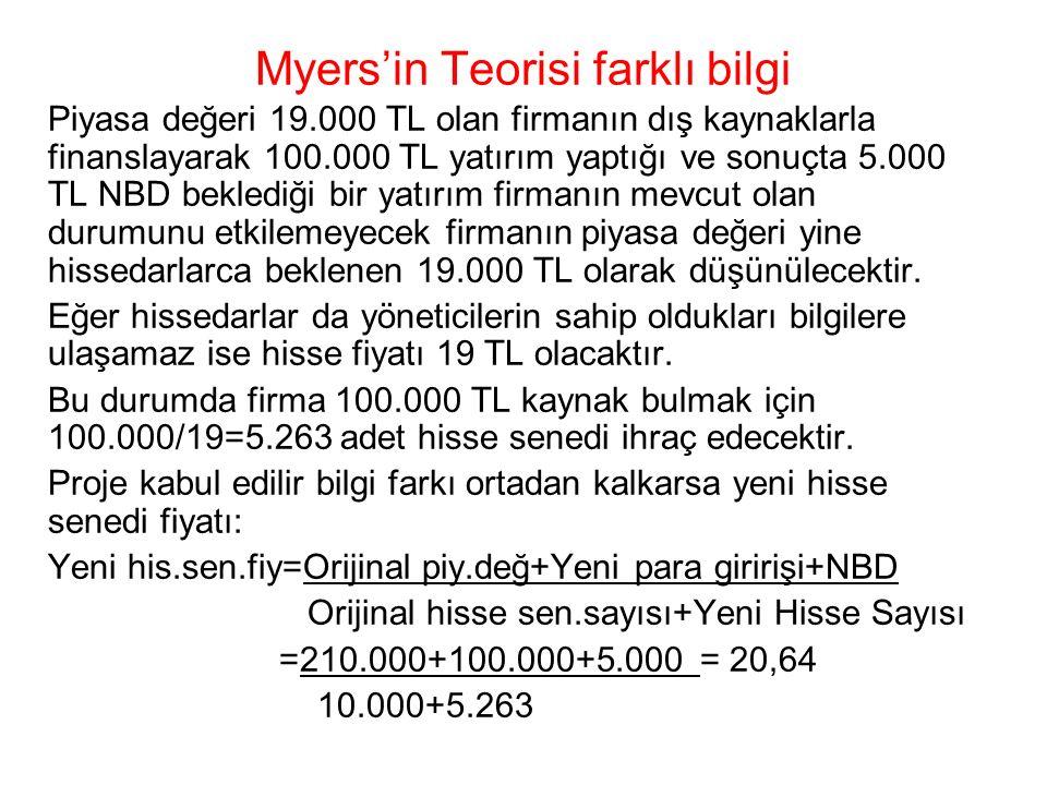 Myers'in Teorisi farklı bilgi Piyasa değeri 19.000 TL olan firmanın dış kaynaklarla finanslayarak 100.000 TL yatırım yaptığı ve sonuçta 5.000 TL NBD b