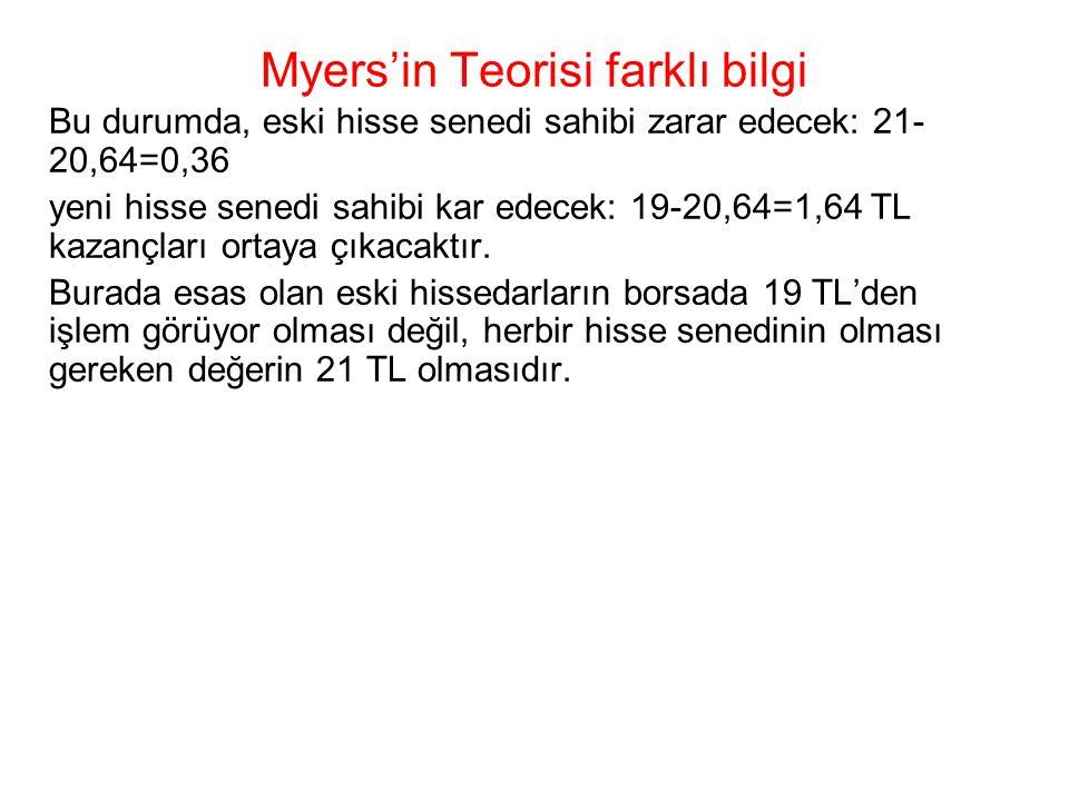 Myers'in Teorisi farklı bilgi Bu durumda, eski hisse senedi sahibi zarar edecek: 21- 20,64=0,36 yeni hisse senedi sahibi kar edecek: 19-20,64=1,64 TL