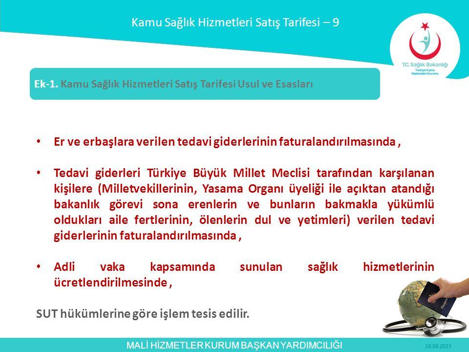 MALİ HİZMETLER KURUM BAŞKAN YARDIMCILIĞI Er ve erbaşlara verilen tedavi giderlerinin faturalandırılmasında, Tedavi giderleri Türkiye Büyük Millet Mecl