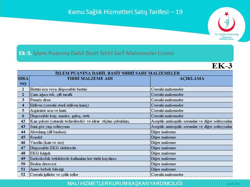 MALİ HİZMETLER KURUM BAŞKAN YARDIMCILIĞI Kamu Sağlık Hizmetleri Satış Tarifesi – 19 Ek-3. İşlem Puanına Dahil Basit Sıhhi Sarf Malzemeler Listesi 18.0