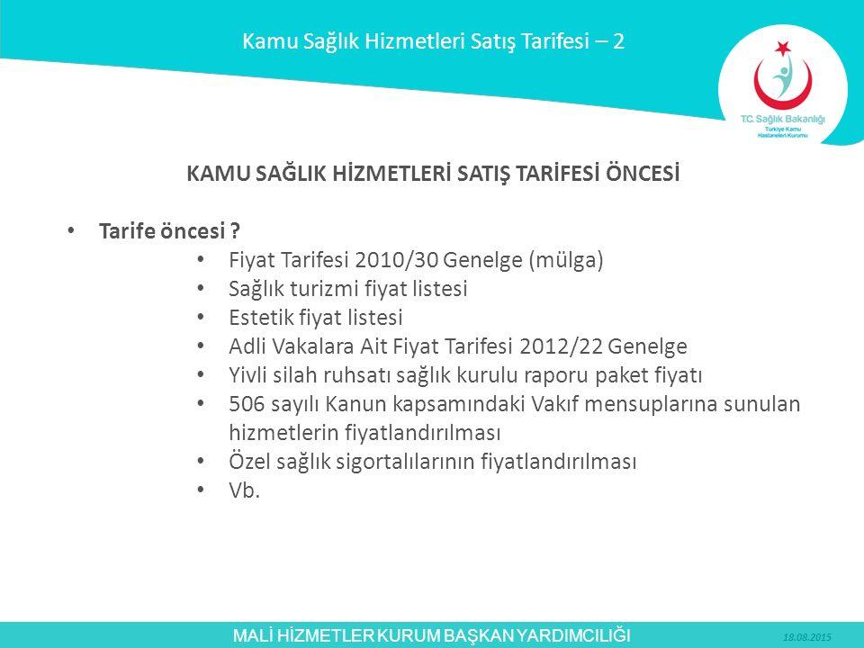 MALİ HİZMETLER KURUM BAŞKAN YARDIMCILIĞI KAMU SAĞLIK HİZMETLERİ SATIŞ TARİFESİ ÖNCESİ Tarife öncesi ? Fiyat Tarifesi 2010/30 Genelge (mülga) Sağlık tu