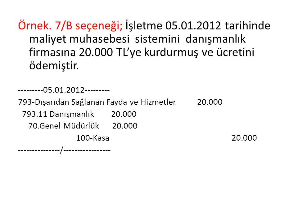 Örnek. 7/B seçeneği; İşletme 05.01.2012 tarihinde maliyet muhasebesi sistemini danışmanlık firmasına 20.000 TL'ye kurdurmuş ve ücretini ödemiştir. ---