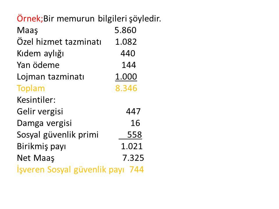 Örnek;Bir memurun bilgileri şöyledir. Maaş 5.860 Özel hizmet tazminatı 1.082 Kıdem aylığı 440 Yan ödeme 144 Lojman tazminatı 1.000 Toplam 8.346 Kesint