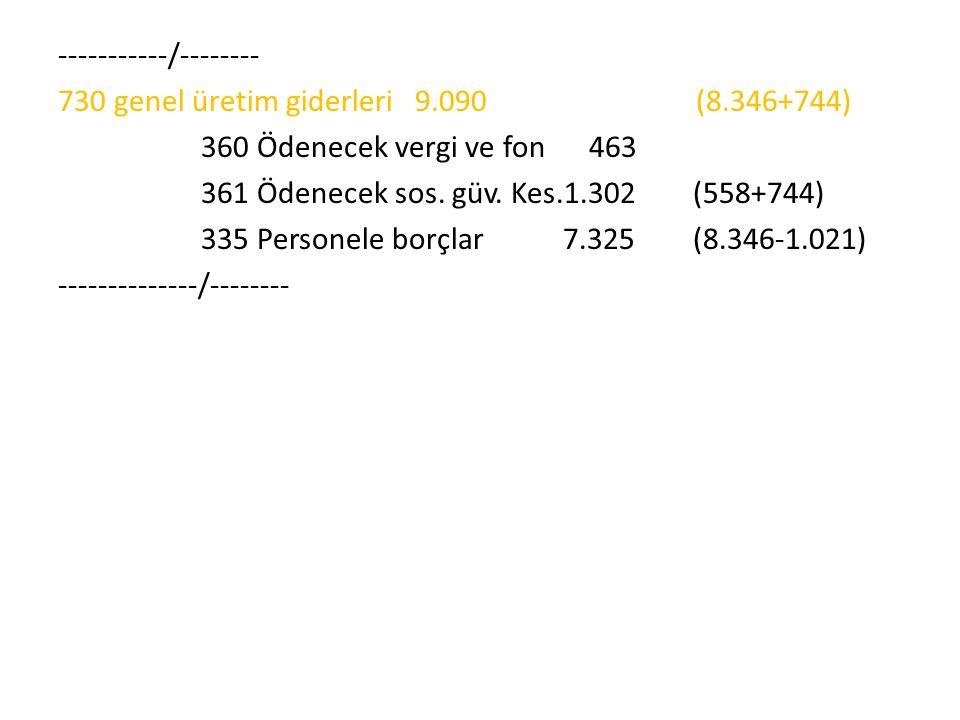 -----------/-------- 730 genel üretim giderleri 9.090 (8.346+744) 360 Ödenecek vergi ve fon 463 361 Ödenecek sos. güv. Kes.1.302 (558+744) 335 Persone