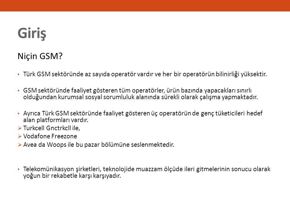 Giriş Niçin GSM? Türk GSM sektöründe az sayıda operatör vardır ve her bir operatörün bilinirliği yüksektir. GSM sektöründe faaliyet gösteren tüm opera