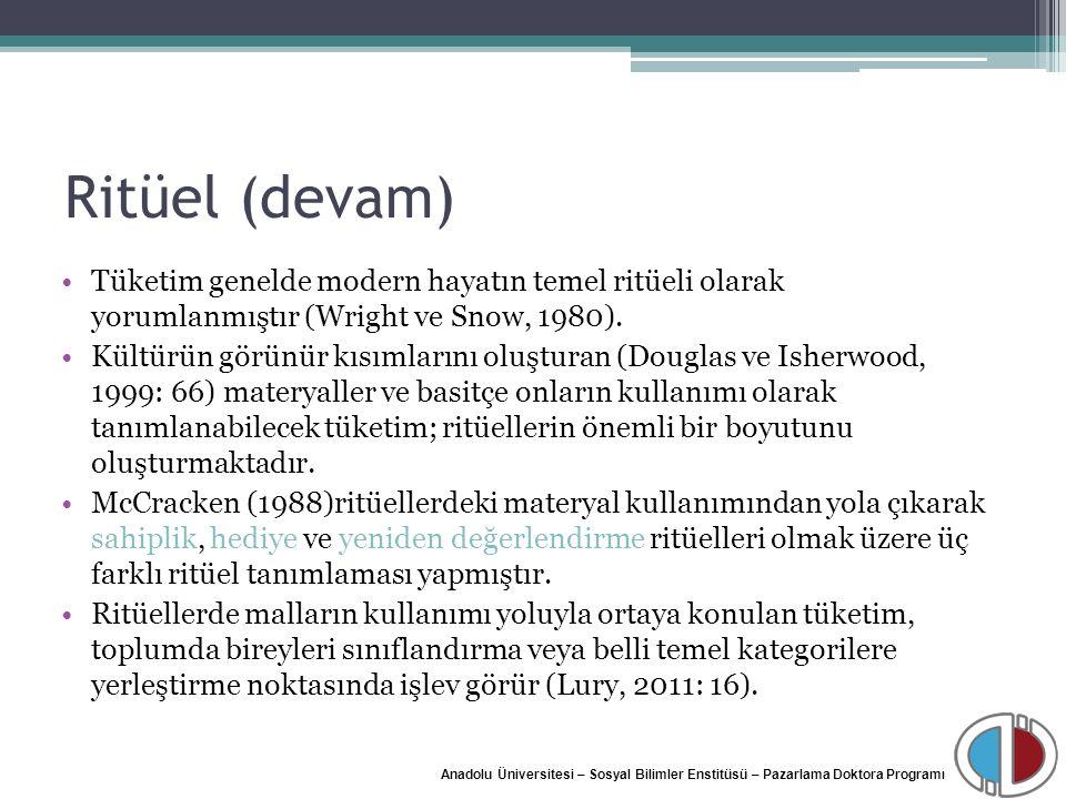 Anadolu Üniversitesi – Sosyal Bilimler Enstitüsü – Pazarlama Doktora Programı Ritüel (devam) Tüketim genelde modern hayatın temel ritüeli olarak yorum