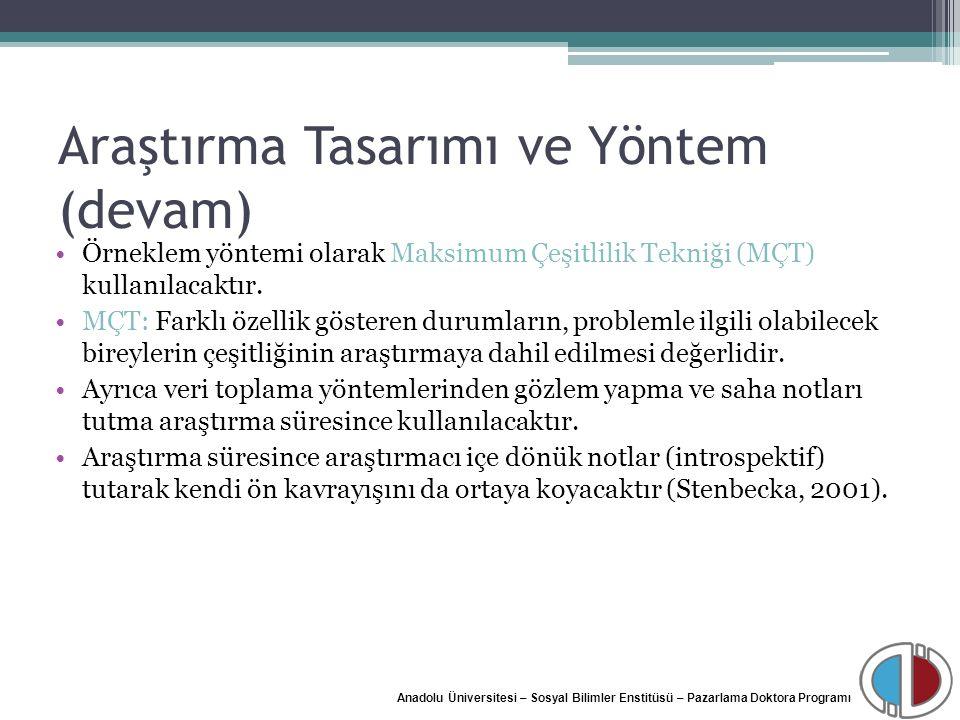 Anadolu Üniversitesi – Sosyal Bilimler Enstitüsü – Pazarlama Doktora Programı Araştırma Tasarımı ve Yöntem (devam) Örneklem yöntemi olarak Maksimum Çe