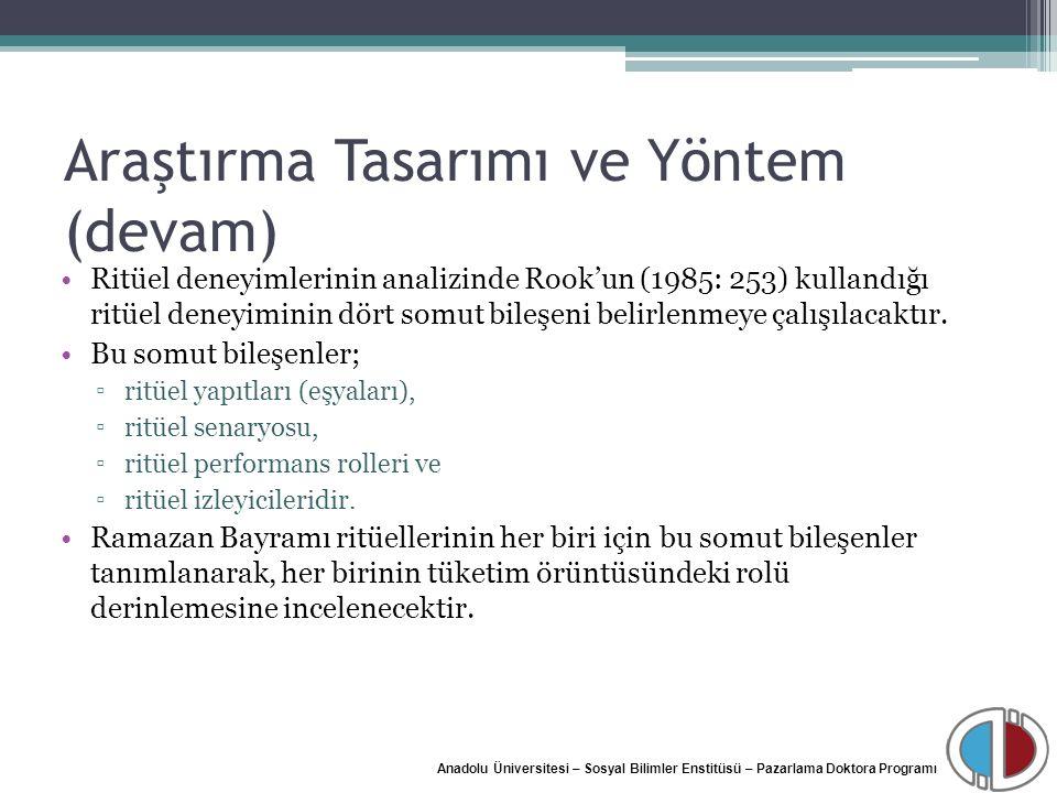 Anadolu Üniversitesi – Sosyal Bilimler Enstitüsü – Pazarlama Doktora Programı Araştırma Tasarımı ve Yöntem (devam) Ritüel deneyimlerinin analizinde Ro