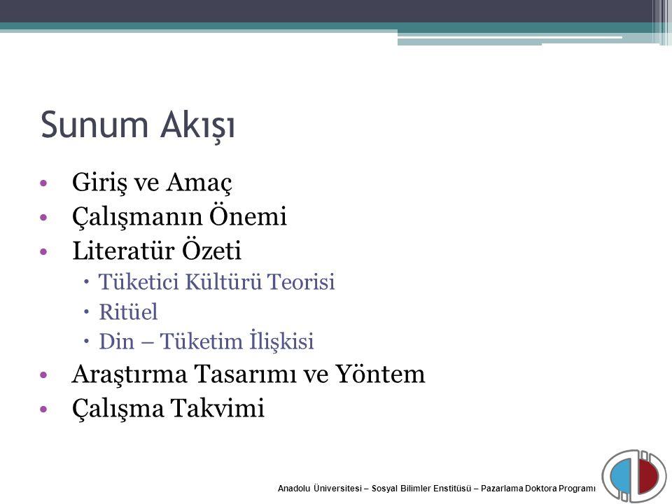 Anadolu Üniversitesi – Sosyal Bilimler Enstitüsü – Pazarlama Doktora Programı Sunum Akışı Giriş ve Amaç Çalışmanın Önemi Literatür Özeti  Tüketici Kü