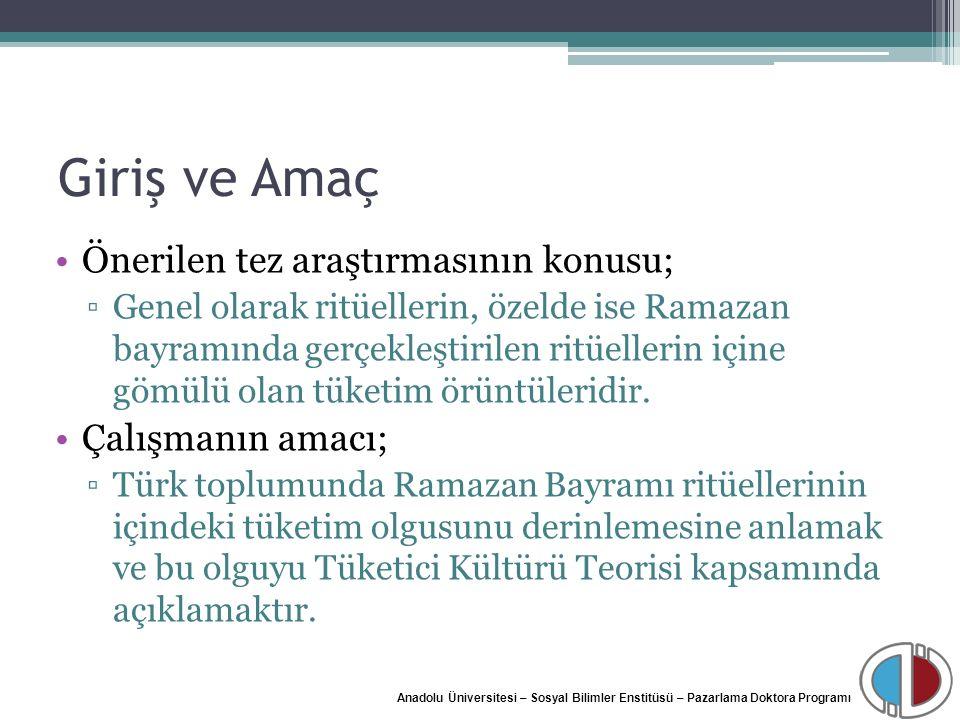 Anadolu Üniversitesi – Sosyal Bilimler Enstitüsü – Pazarlama Doktora Programı Giriş ve Amaç Önerilen tez araştırmasının konusu; ▫Genel olarak ritüelle
