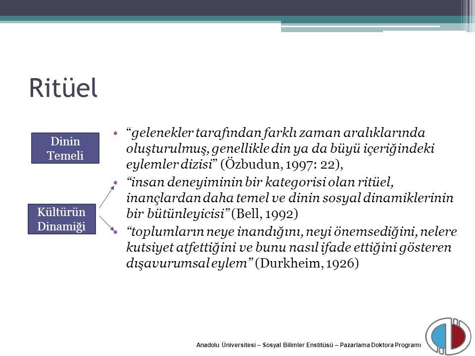 """Anadolu Üniversitesi – Sosyal Bilimler Enstitüsü – Pazarlama Doktora Programı Ritüel """"gelenekler tarafından farklı zaman aralıklarında oluşturulmuş, g"""
