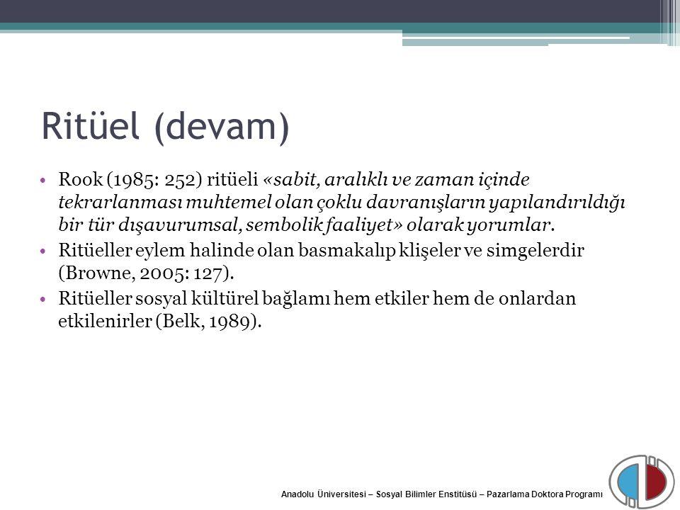 Anadolu Üniversitesi – Sosyal Bilimler Enstitüsü – Pazarlama Doktora Programı Ritüel (devam) Rook (1985: 252) ritüeli «sabit, aralıklı ve zaman içinde
