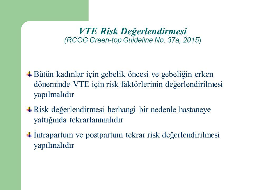 VTE Risk Değerlendirmesi (RCOG Green-top Guideline No.