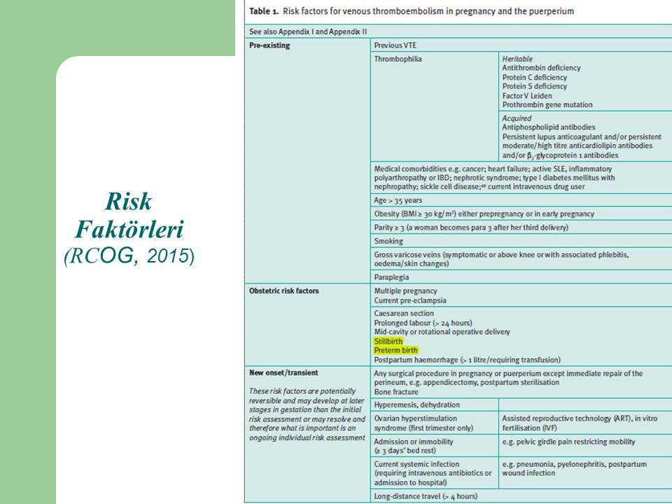 Risk Faktörleri (RC OG, 2015)