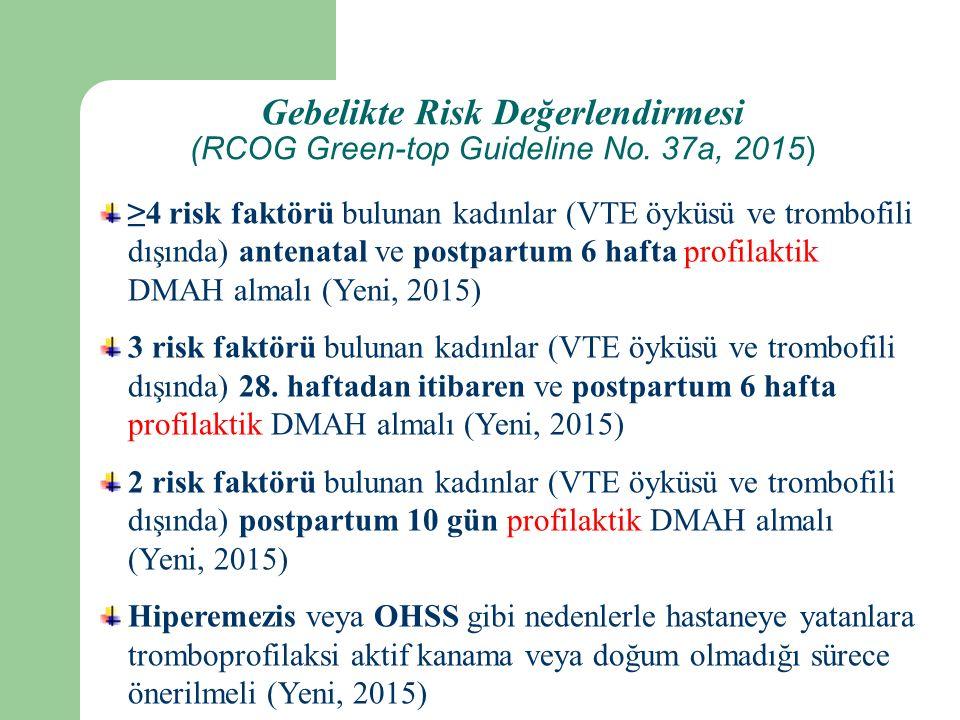 Gebelikte Risk Değerlendirmesi (RCOG Green-top Guideline No.