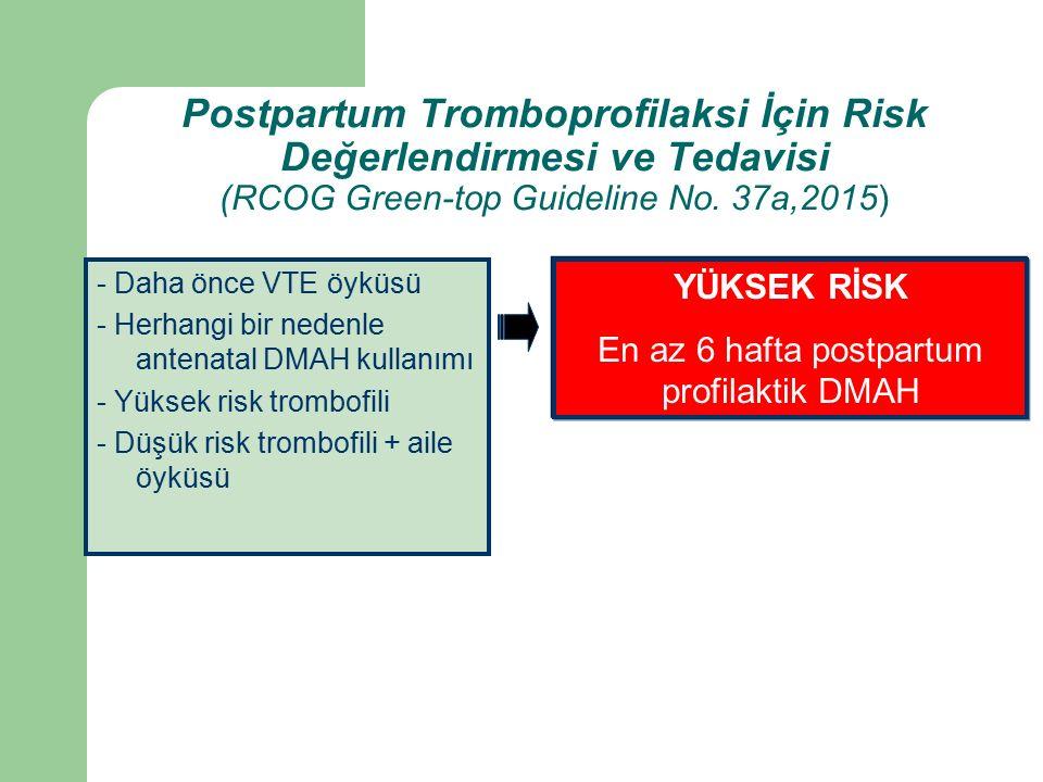 Postpartum Tromboprofilaksi İçin Risk Değerlendirmesi ve Tedavisi (RCOG Green-top Guideline No.