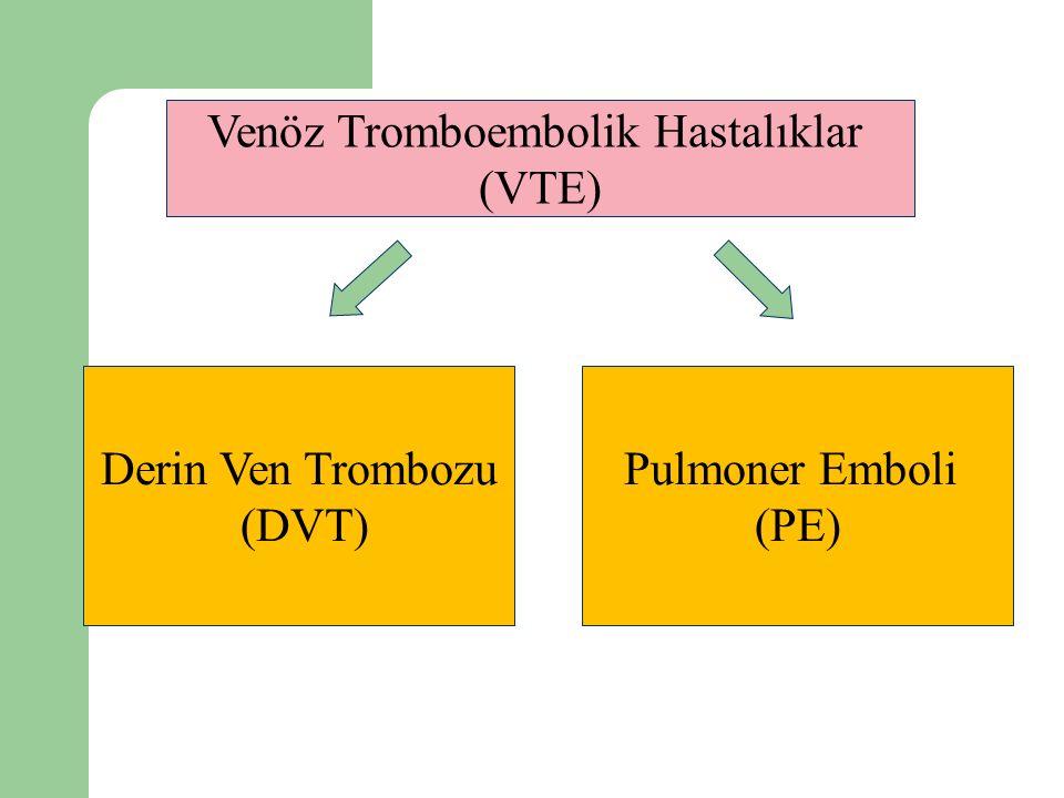 Venöz Tromboembolik Hastalıklar (VTE) Derin Ven Trombozu (DVT) Pulmoner Emboli (PE)
