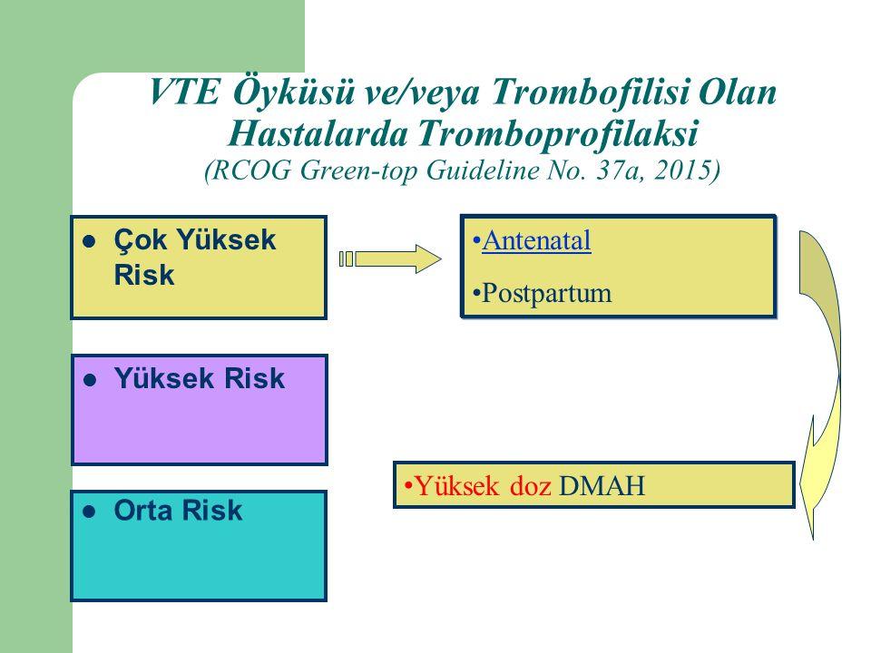 Orta Risk Yüksek Risk Çok Yüksek Risk Antenatal Postpartum Yüksek doz DMAH VTE Öyküsü ve/veya Trombofilisi Olan Hastalarda Tromboprofilaksi (RCOG Green-top Guideline No.