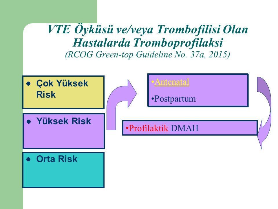 Orta Risk Yüksek Risk Çok Yüksek Risk Antenatal Postpartum Profilaktik DMAH VTE Öyküsü ve/veya Trombofilisi Olan Hastalarda Tromboprofilaksi (RCOG Green-top Guideline No.