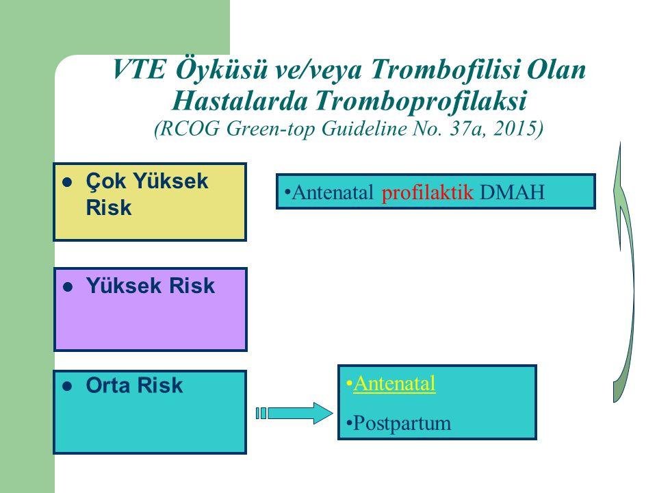 Orta Risk Yüksek Risk Çok Yüksek Risk Antenatal Postpartum Antenatal profilaktik DMAH VTE Öyküsü ve/veya Trombofilisi Olan Hastalarda Tromboprofilaksi (RCOG Green-top Guideline No.